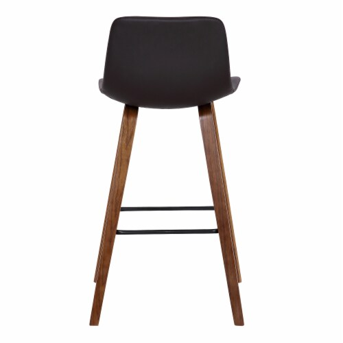 Armen Living Maddie 25.5 H Faux Leather Counter Stool in Walnut and Brown Perspective: bottom