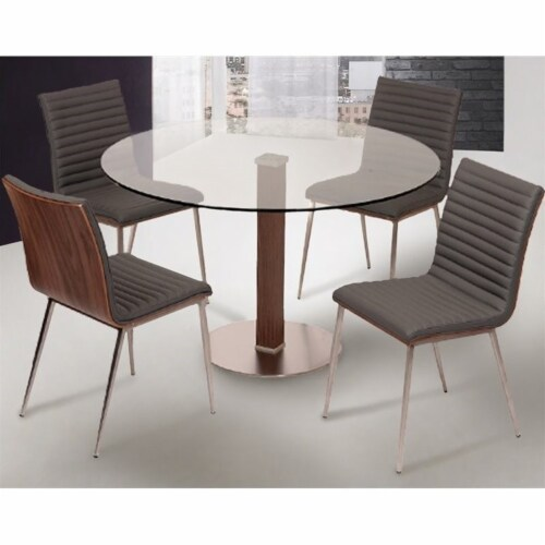 Armen Living Cafe Faux Leather Steel Dining Chair in Gray (Set of 2) Perspective: bottom