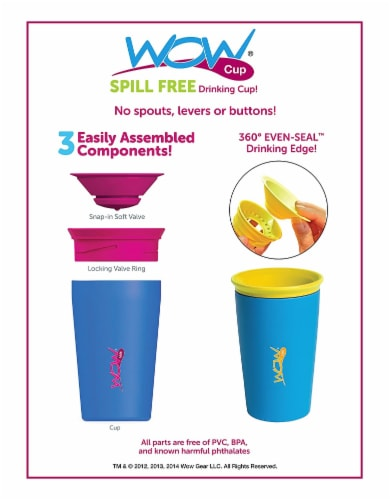 Wow Cup for Kids Original 360 Sippy Cup, Pink with Blue Lid, 9 oz TWO PACK Perspective: bottom