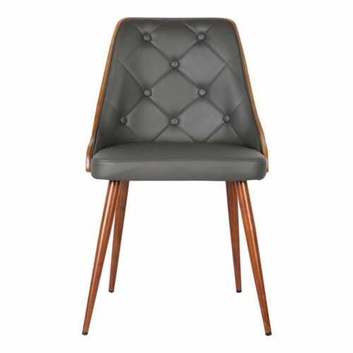 Armen Living Lily Dining Chair in Walnut and Gray Perspective: bottom