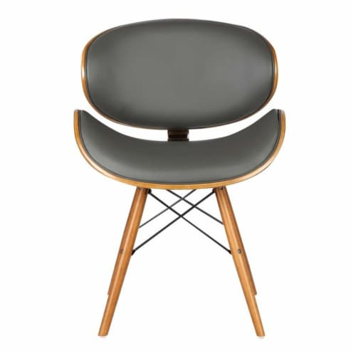 Armen Living Cassie Dining Chair in Walnut and Gray Perspective: bottom
