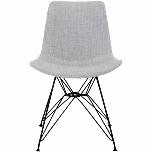 Armen Living Palmetto Upholstered Dining Side Chair in Gray Perspective: bottom