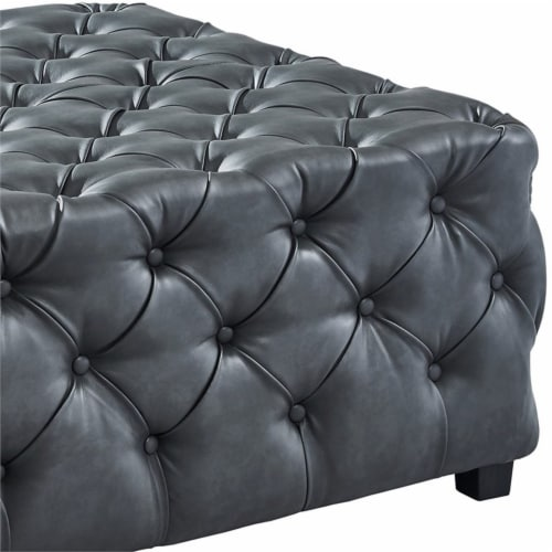 Armen Living Taurus Faux Leather Tufted Ottoman in Gray Perspective: bottom