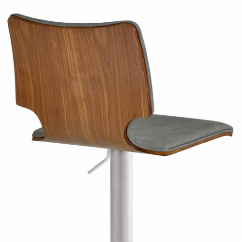 Barstool in Brushed Stainless Steel with Vintage Grey Faux Leather and Walnut Wood Back Perspective: bottom
