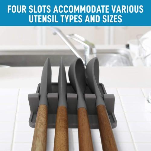 Utensil Rest w/ Drip Pad (Silicone) - Dark Grey Perspective: bottom