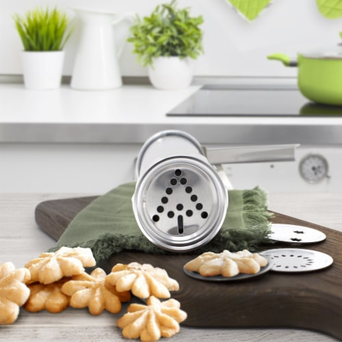Zulay Kitchen Classic Cookie Press with 20 Decorative Stencil Discs and 4 Icing Tips Perspective: bottom