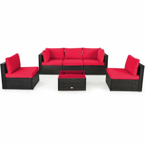 Gymax 6PCS Rattan Outdoor Sectional Sofa Set Patio Furniture Set w/ Red Cushions Perspective: bottom