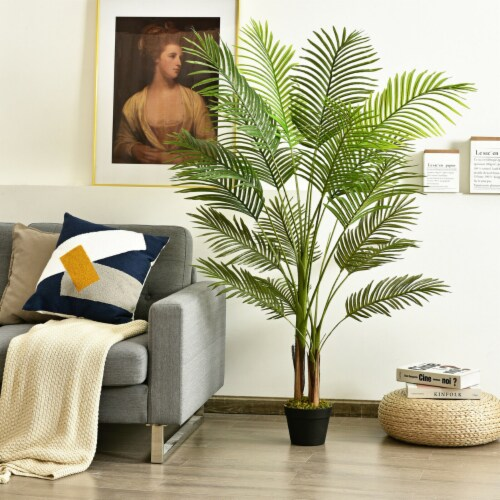 Gymax 5Ft Artificial Phoenix Palm Tree Plant for Indoor Home Office Decoration Perspective: bottom