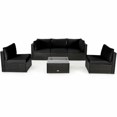 Gymax 6PCS Rattan Outdoor Sectional Sofa Set Patio Furniture Set w/ Black Cushions Perspective: bottom