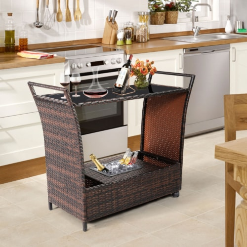 Gymax Rattan Patio Bar Cart Beverage Bar Counter Table w/ Wheels & Ice Bucket Perspective: bottom