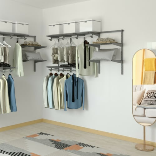 Gymax Custom Closet Organizer Kit 3 to 6 FT Wall-mounted Closet System w/Hang Rod Grey Perspective: bottom