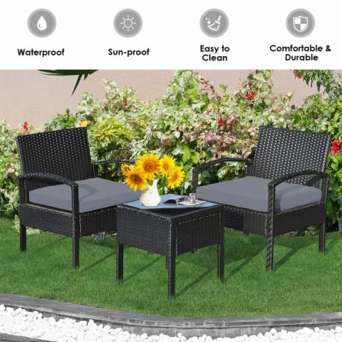 Gymax 3PCS Patio Rattan Conversation Furniture Set Outdoor Yard w/ Grey Cushions Perspective: bottom