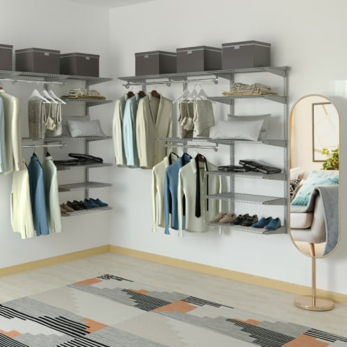 Gymax Custom Closet Organizer Kit 4 to 6 FT Wall-mounted Closet System w/Hang Rod Grey Perspective: bottom