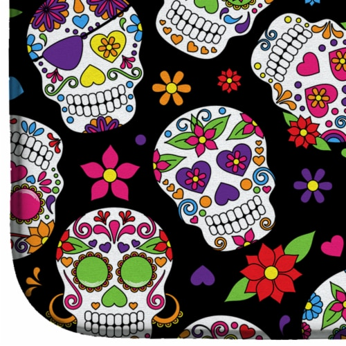 Carolines Treasures  BB5116DDM Day of the Dead Black Dish Drying Mat Perspective: bottom