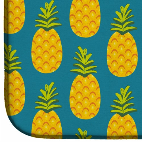 Carolines Treasures  BB5145DDM Pineapples on Teal Dish Drying Mat Perspective: bottom