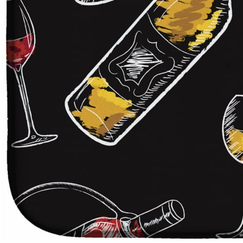 Carolines Treasures  BB5197DDM Red and White Wine on Black Dish Drying Mat Perspective: bottom