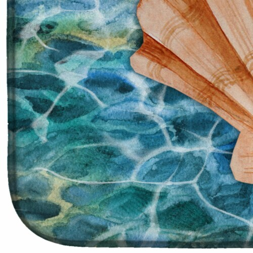 Carolines Treasures  BB5367DDM Scallop Shell and Water Dish Drying Mat Perspective: bottom