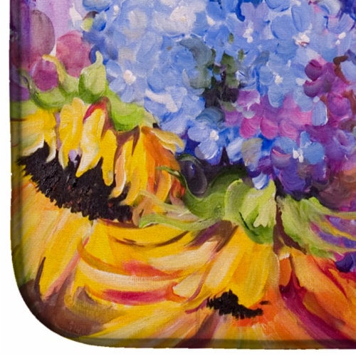 Carolines Treasures  JMK1119DDM Hydrangeas and Sunflowers Dish Drying Mat Perspective: bottom