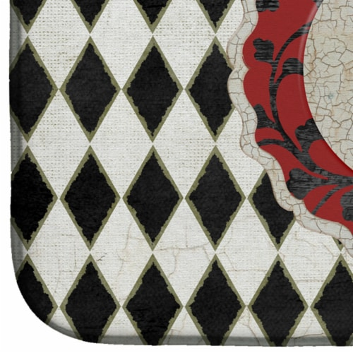 Carolines Treasures  SB3086DDM Rooster Harlequin Black and white Dish Drying Mat Perspective: bottom