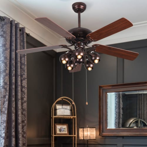 Costway 52 in Vintage Rustic Ceiling Fan Light with 5 Reversible Blades Pull Chain Home Perspective: bottom