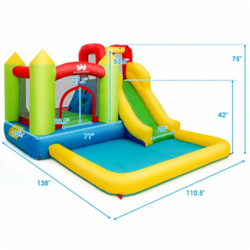 Gymax Outdoor Inflatable Bounce House Water Slide Climb Bouncer Pool Perspective: bottom