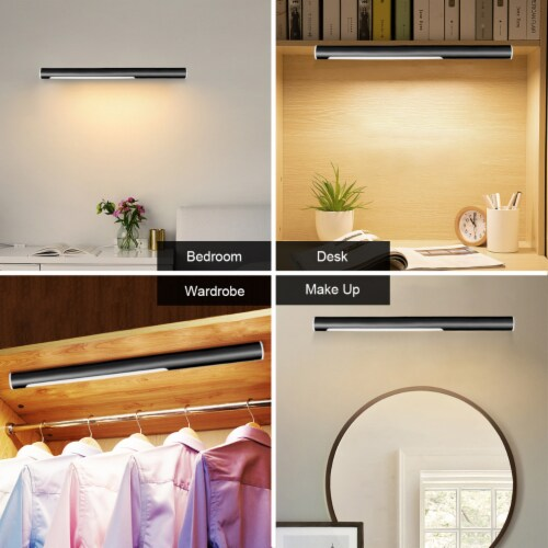Costway 40 LED Closet Light Portable USB Rechargeable Wardrobe Lamp Waterproof Black Perspective: bottom