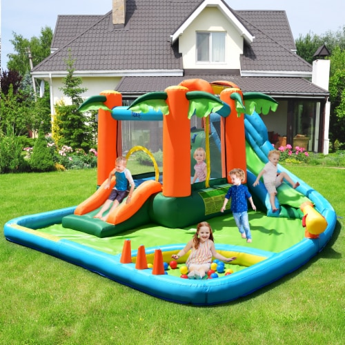Costway Inflatable Bounce House Kids Water Splash Pool Dual Slide Jumping Castle w/ Bag Perspective: bottom