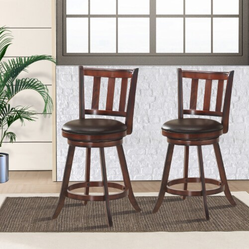 Costway Set of 2 25'' Swivel Bar stool Leather Padded Dining Kitchen Pub Bistro Chair High Perspective: bottom