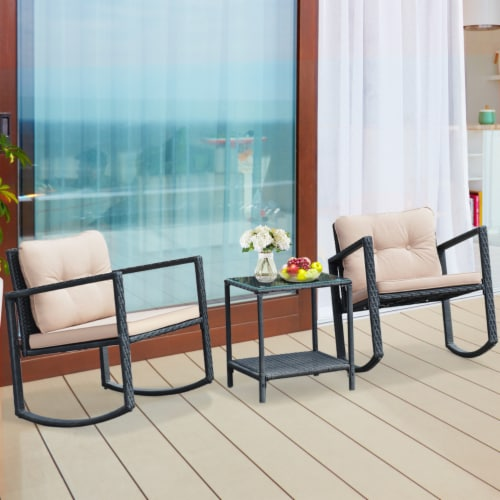 Costway 3PC Patio Rattan Conversation Set Rocking Chair Cushioned Sofa Garden Furniture Perspective: bottom