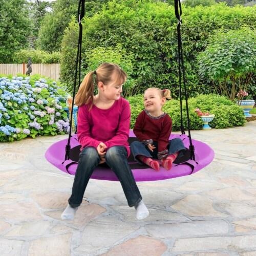 Costway 40'' Flying Saucer Tree Swing Indoor Outdoor Play Set Kids Christmas Gift Purple Perspective: bottom