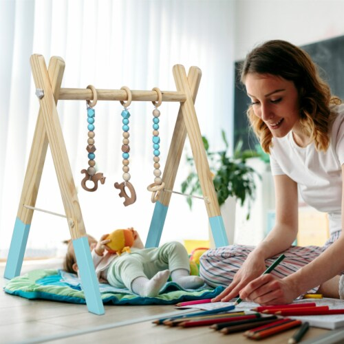 Foldable Wooden Baby Gym with 3 Wooden Baby Teething Toys Hanging Bar Green Perspective: bottom