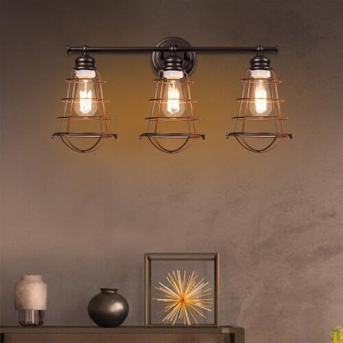 Costway 3-Light Vanity Light Metal Wire Cage Wall Sconce Bathroom Fixture Artist Lamp Perspective: bottom
