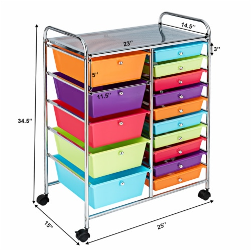 Costway 15 Drawer Rolling Storage Cart Storage Rolling Carts Drawers Perspective: bottom