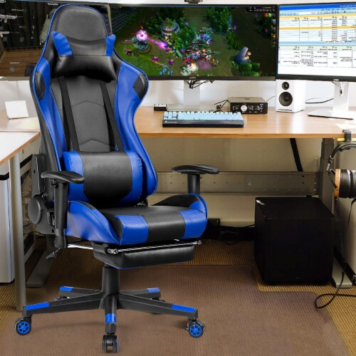 Costway Gaming Recliner Racing Chair w/ Lumbar Support & Footrest Blue Perspective: bottom
