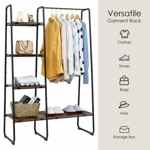Costway Metal Garment Rack Free Standing Closet Organizer w/5 Shelves Hanging Bar Black Perspective: bottom