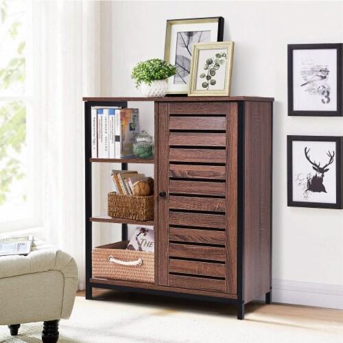 Costway Industrial Bathroom Storage Cabinet Free Standing Cabinet W/3 Shelves Perspective: bottom