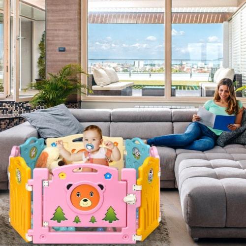 Costway 8 Panel Kids Baby Playpen Activity Center Safety Play Yard Home Indoor Outdoor Perspective: bottom