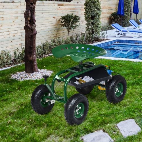 Costway Garden Cart Rolling Work Seat w/ Tool Tray Basket Green Perspective: bottom