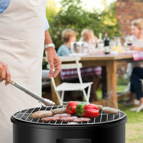 Costway 3-in-1 Portable Round Charcoal Smoker Vertical BBQ Grill Built-in Thermometer Perspective: bottom