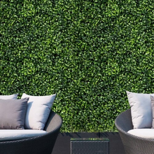 Costway 12 PCS 20''x20'' Artificial Boxwood Plant Wall Panel Hedge Privacy Fence Perspective: bottom