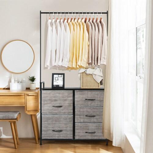 Costway 5 Drawer Fabric Dresser Hanger Metal Frame Wooden Top Storage Closet Organizer Perspective: bottom