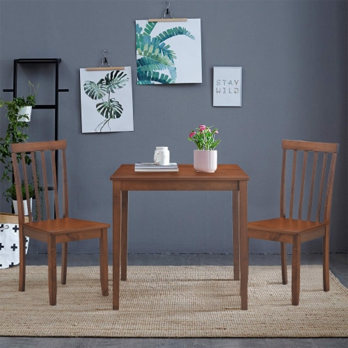 Costway 4 PCS Dining Chair Kitchen Spindle Back Side Chair with Solid Wooden Leg Perspective: bottom