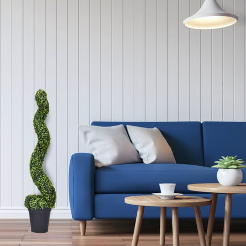 Costway 2PC 4ft Artificial Boxwood Spiral Tree In/Outdoor Office Garden Patio Decoration Perspective: bottom