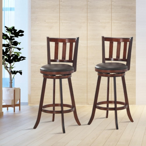 Costway Set of 2 29.5'' Swivel Bar stool Leather Padded Dining Kitchen Pub Bistro Chair High Perspective: bottom
