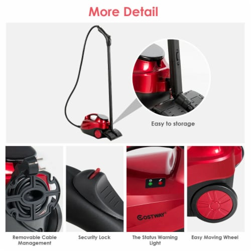 Costway 2000W Heavy Duty Steam Cleaner Mop Multi-Purpose W/19 Accessories 4.0 Bar 1.5L Perspective: bottom