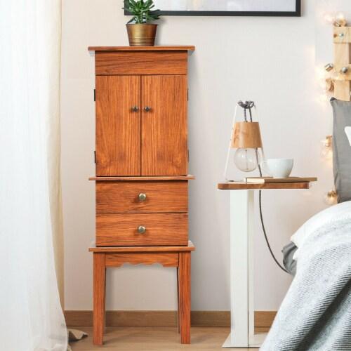 Costway Vintage Jewelry Cabinet Chest Storage Organizer Drawers&Mirror Perspective: bottom