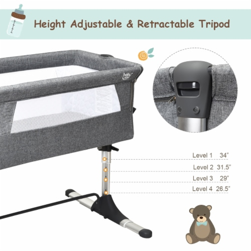 Baby joy Portable Baby Bed Side Sleeper Infant Travel Bassinet Crib W/Carrying Bag Grey Perspective: bottom