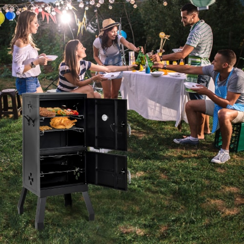 Costway Vertical Charcoal Smoker BBQ Barbecue Grill w/ Temperature Gauge Outdoor Black Perspective: bottom