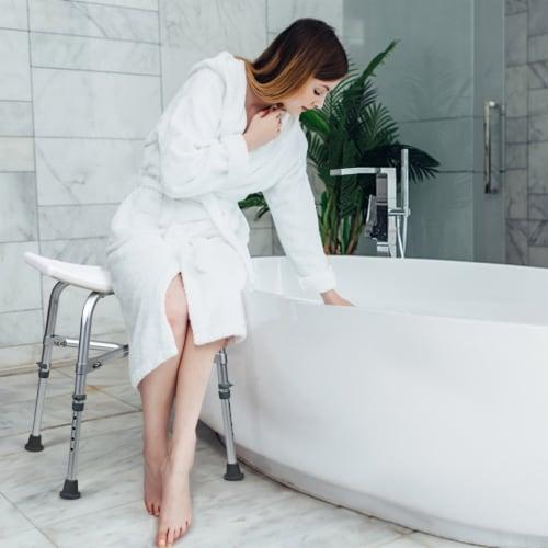 Costway Shower Chair Bath Stool 6 Adjustable Height Bathtub Seat Transfer Bench Non-Slip Perspective: bottom