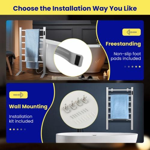 Costway Freestanding Wall Mounted Electric Towel Rail Rack Bathroom Warmer Heated Perspective: bottom